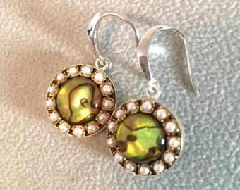 SUMMER Sale Abalone pearl crystal sterling silver dangle earrings