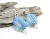 Blue Swirl Czech Glass Earrings - Earrings w/ Swarovski Crystals - Earrings for Sensitive Ears - Blue Earrings - Limited Edition Earrings
