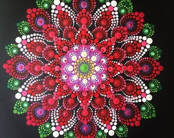 Red Dahlia - Mandala painting on canvas