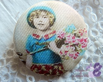 Fabric button, retro child, 1.25 in / 32 mm