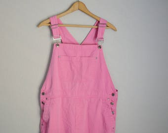 RESERVED for Beth /////// vintage 90s bright pink cropped capri overall pants  bib -- womens large