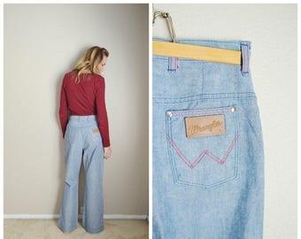 Summer SALE - 20% off - vintage 70s light wash wrangler denim jeans // womens 28x30- high waisted