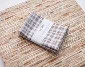 Small Cloth Napkins - Set of 4 - (N3657s) - Gray Plaid Modern Reusable Fabric Napkins