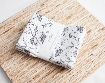 Large Cloth Napkins - Set of 4 - (N5436) - Lacy Grace Twig Floral Modern Reusable Fabric Napkins