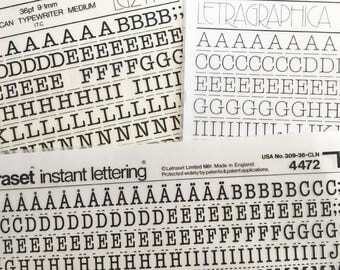 AMERICAN TYPEWRITER 36 point in Two Weights are Vintage Letraset Instant Lettering Rub Off Alphabet Sheets