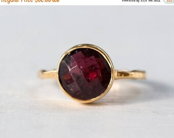 40 OFF - Garnet Ring - January Birthstone Ring - Gemstone Ring - Stacking Ring - Gold Plated - Round Ring