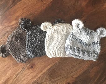 Chunky Bear Hat, Winter Hat, Animal Beanie, Available in sizes Newborn thru Adult//No Wool Option