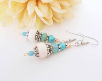 Boho Earrings, Best Selling Items Wood Beaded Earrings, Bohemian Earrings, Gift for Sister, Aqua Blue Dangle Earrings, Gift for Mother