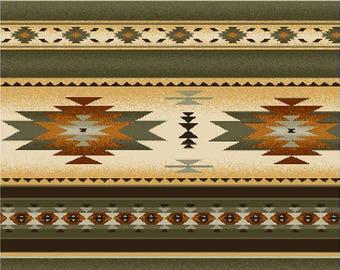 Southwest Tucson Sage Indian Blanket Stripe Premium Cotton Fabric by Elizabeth's Studio 1.25 yard piece