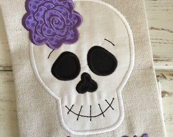 Skeleton Flower Halloween Applique Embroidery Design 5x7 6x10 8x8 8x12