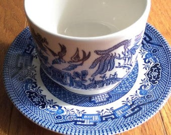 Churchill Blue Willow Cup & Saucer (small chip in cup)
