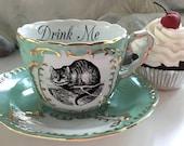 LARGER SIZE! Alice in Wonderland Gold Teacup / Saucer Set, Pick Your Character, Lewis Caroll Teacup, Alice Tea Party, Wonderland Mug Cup