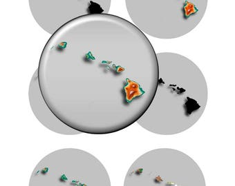 Hawaii State Maps Art - Circles 1.5 & 1.0 inch,Instant Download Digital Art,Collage   Sheets,Magnets,Jewelry,Scrapbooking
