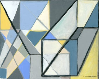"""Original Geometric Abstract Painting 16""""x20"""" contemporary modern art 3D shapes grey blue beige yellow black turquoise interior wall decor"""