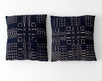 antique Jacquard coverlet pillows set of 2, blue and white hand woven pillows