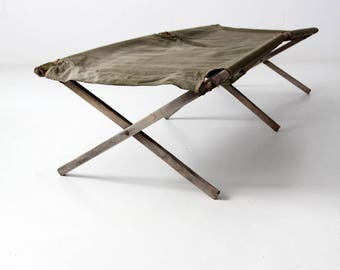 vintage army cot, wooden x-frame folding bed