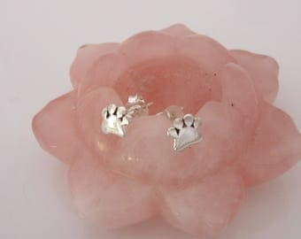 Animal cat/dog small PAW PRINT sterling silver stud earrings
