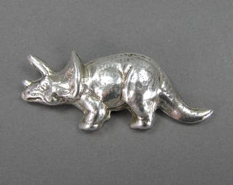 Sterling Triceratops Brooch, Mexican Retro 80's, Signed, Repousse, Figural, 3D, Nature, Fossil, Geek