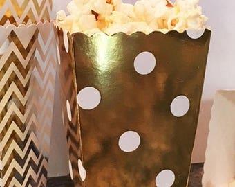 GLAM SALE GLAM Sale - Sample Mini Popcorn Favor Boxes in Chevron, Stripe or Polka Dot, Mini Popcorn Favor Boxes, Gold and Silver Wedding Fav