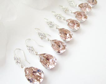 Bridesmaids Earrings Set of 7,Blush Crystal Earrings,Petal Pink,Blush,Pink Earrings,Pink Bridesmaid Earrings,Set of 7 Swarovski Crystal