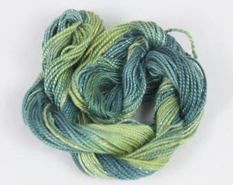 olive jungle green Perle Cotton Perle crochet tatting lace Embroidery thread size 8 and 5 fiber art weacing supply variegated hand dyed
