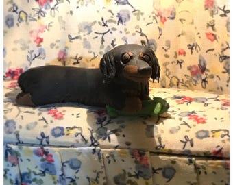 Long Hair Black and Tan dachshund polymer clay sculpture