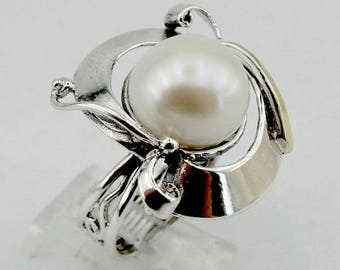 Great handcrafted Sterling Silverang gold 9K long Pearl ring, Pearl  Pendant, Round Pearl ring, Wedding Earrings ,gift (ms 345r)