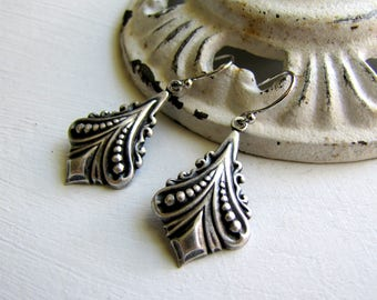 Art Nouveau Earrings Art Deco Earrings Silver Earrings Fan Earrings Great Gastsby 1920's Earrings Downton Abbey Jewelry Gatsby Earrings