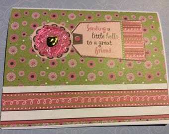 Handmade greetings card Hello, Sending a little hello to a great friend, friendship greeting glitter ink