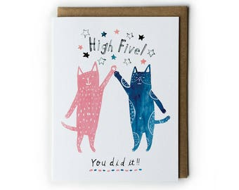 Funny Cat Greeting Card, Congratulations Card, Congratulations Graduation Card, Cute Cat Illustration, Cat Painting, Folded Notecard, A2