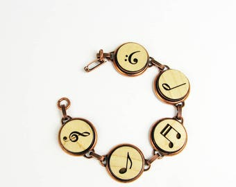 Music Bracelet - Treble Clef, Bass Clef, Music Note Jewelry in Wood and Copper