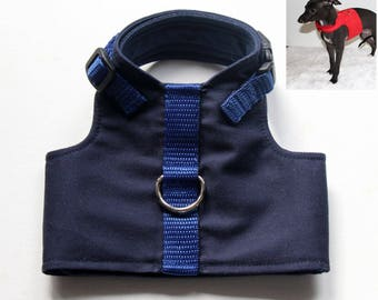 One only - Italian Greyhound Puppy Harness - size 1 ( see measurements ) Navy Blue Twill with Navy Blue Cotton lining - see details