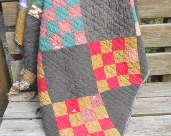 Antique Primitive 16 Patch Quilt- Charmingly Dilapidated-Tattered and Torn-Outdoor Display Quilt-Cutter Quilt