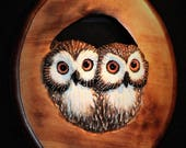 Wood Carving - Bird -  Owl Art - OOAK - Hand Carved and Sculpted in Walnut