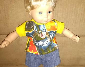15 inch BOY doll Captain America shirt and jean shorts