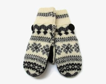 Wool Mittens from Felted and Recycled Wool Sweaters // Fleece Lined Mittens // Black Gray and Cream Fair Isle Wool Sweater Mittens