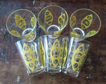 Mid Century Juice Glasses Set of 6 Vintage 1970s Harvest Gold