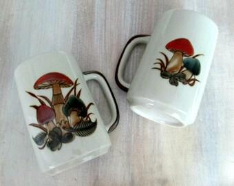 Mid Century Mushrooms Stoneware Ceramic Mugs // 1960s 1970s Kitsch Kitchen