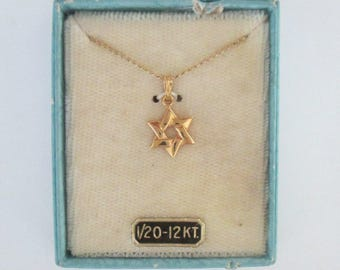 Gold Star of David Charm Necklace Original Box // 1/20th 12 KT Mid Century Judaica