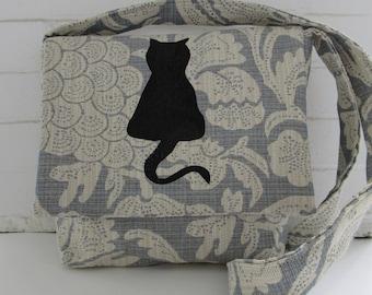 Screen Print Cat, Blue Cross Body Bag, Notebook or iPad Bag,  Boho Sling, Crazy Cat Lady, Book Bag