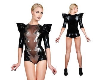 Lightning Bolt Bodysuit, Dance Costume, Burning Man, David Bowie, Lady Gaga, Stage Wear, Glam Rock, Romper, Sexy Black Leotard,by LENA QUIST