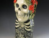 Reserved for crystals4eternity Skull vase with red roses