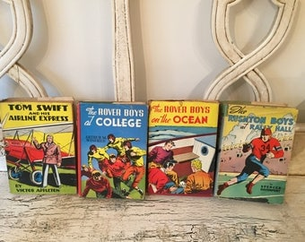 Colorful Children's Book Stack - Vintage Books for Boys -