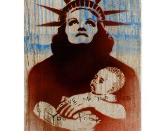 Lady Liberty Painting 14x24 Street Art Pop Art Graffiti Inspired Original Artwork Americana Graffiti on Canvas Political Art Feminist Art