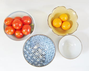 Vintage Japanese Bowls ASSORTMENT Ceramic Set of 4