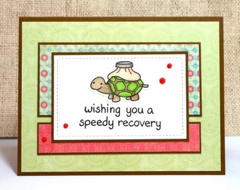 Get Well Card- Turtle Card- Turtle Get Well- Speedy Recovery- Feel Better Soon- Cute Get Well Card