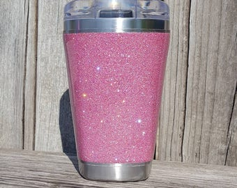 Glitter Sovaro Coffee Cup Tumbler Stainless Steel 14 oz SOVARO Solid Bubble Gum Rich Peach Pink DISCOUNTED Read Discription