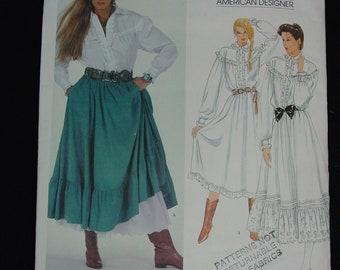 Vintage Vogue Pattern c.1980's American Designer Ralph Lauren Blouse,Skirt,Dress Size 10