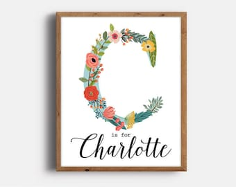 Boho Nursery, Charlotte, Nursery Art, Kids Room Decor, Monogram, Art Print, Personalized, Floral Nursery, Printable, Digital Download