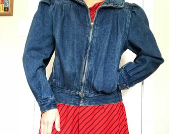 80s Denim Jean Jacket with Puff Shoulders